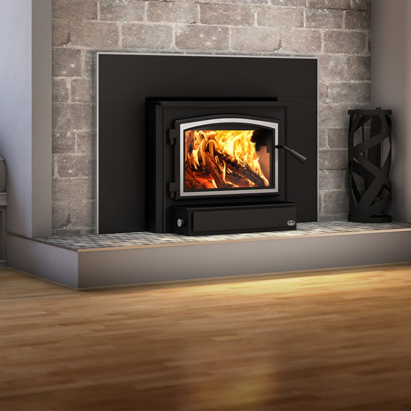Brick & Stone Wood Burning Fireplace Insert