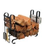 Enclume Large Modern Fireplace Log Rack With Tools Hammered Steel Finish - LR19AT HS