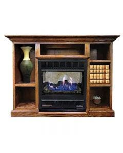 Buck Stove Model 1127 Vent Free Gas Fireplace with Prestige Bookcase Mantel - 50""
