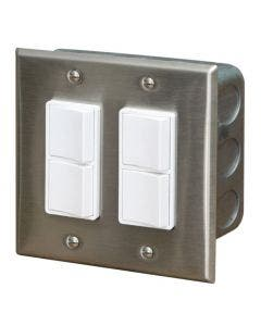 Infratech Dual Duplex Switch - Stainless Cover In-Wall Box - 20A Max
