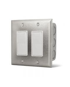 Infratech Dual Simple Switch - Stainless Cover In-Wall Box - 20A Max