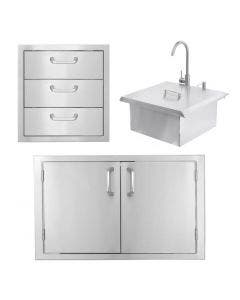 BBQ Direct Outdoor 3-piece Kitchen Set With Double & Triple Access Door & Sink