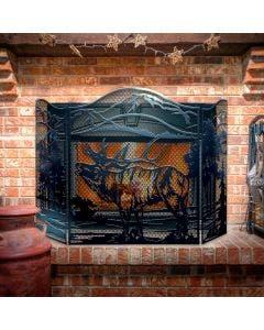 "Decorative Fireplace Screen, ""Elk,"" 3-Panel Steel Screen"