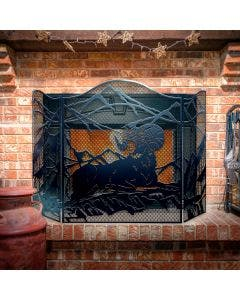 Decorative Ram 3-Panel Steel Fireplace Screen