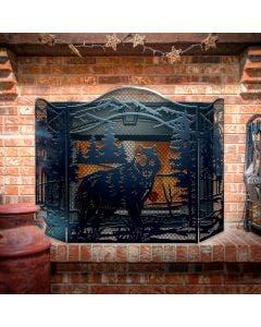Decorative Wolf 3-Panel Steel Fireplace Screen