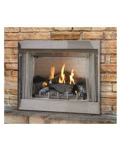 Empire Carol Rose Outdoor 36 Inch Millivolt Fireplace and 24 Inch Wildwood Log Kit - OP36FP32M / OLX24WR