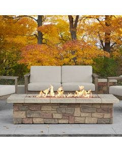 Real Flame Sedona Large Rectangular Propane Fire Pit With Natural Gas Conversion Kit - Buff - C11813LP-BF