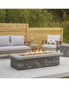 Real Flame Sedona Large Rectangular Propane Fire Pit With Natural Gas Conversion Kit-  Gray - C11813LP
