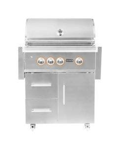 Coyote S-Series 30-Inch 3 Burner Freestanding Gas Grill With Rapidsear Infrared Burner & Rotisserie - C2SL30-FS