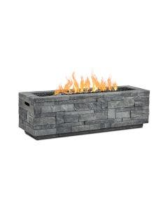 Real Flame Gray Ledgestone Rectangular Propane Fire Pit With Natural Gas Conversion Kit - CT0003LP-GLS