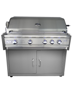RCS Cutlass Pro 38-Inch Freestanding Gas Grill With Rear Infrared Burner & Blue LED Lights - Grill Front View