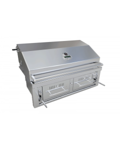 Sunstone 42-Inch Dual Zone 304 Stainless Steel Charcoal Grill- Hood Closed- Front View