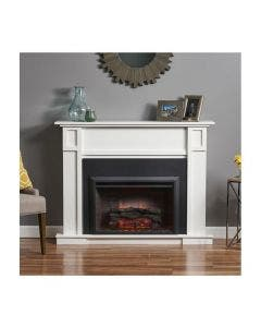 Greatco 32-Inch Electric Zero Clearance Fireplace with Mantel - GI-32-ZCF - White
