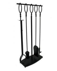 Enclume 4 Pc Twist Top Fireplace Tool Set Black - HFPTS2 BK