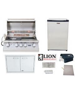 Lion 4-Piece Outdoor Kitchen Package With L75000 Built-In Grill - L75000 Package 1