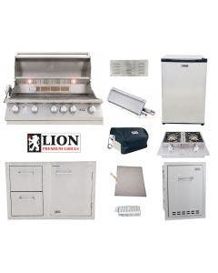Lion 7-Piece Outdoor Kitchen Package With L90000 Built-In Grill - L90000 Package 1