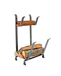 Enclume Fireplace Log Rack With  Kindling Holder Hammered Steel Finish - LR11 HS
