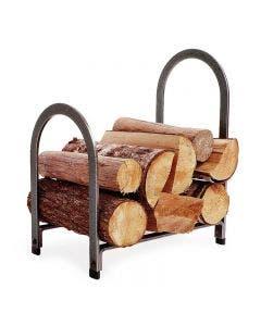 Enclume Offset Arch Fireplace Log Rack Hammered Steel Finish - LR4 HS
