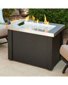 The Outdoor Greatroom Providence 32 Inch Rectangular Gas Fire Pit Table - Stainless Steel
