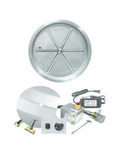 Firegear 33-Inch Round Bowl Pan Fire Pit Burner Kit With Remote - FPB-33RBSAWS-N