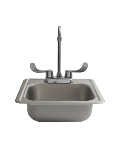 "RCS 15"" X 15"" Outdoor Rated Stainless Steel Drop In Sink With Hot/Cold Faucet - RSNK1 - Front View"