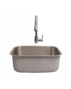"RCS 23"" X 18"" 18-Gauge Single Bowl Stainless Steel Undermount Sink With Hot/Cold Faucet - RSNK2 - Front View"