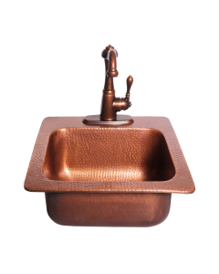 "RCS 15"" X 15"" Copper Drop-In Sink With Hot/Cold Faucet - RSNK3-Front View"
