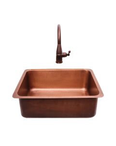 "RCS 23"" X 17"" Copper Undermount Sink With Pull Down Hot/Cold Faucet - RSNK4 - Front View"