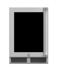 Hestan 24-Inch 5.0 Cu. Ft. Left Hinge Outdoor Rated Dual Zone Glass Door Refrigerator With Wine Storage - GRWGL24
