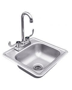 Summerset 15 x 15 Inch Stainless Steel Drop-in Sink With Hot/Cold Faucet - SSNK15D