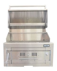 Sunstone 28-Inch Single Zone 304 Stainless Steel Charcoal Grill- Hood Open- Front View