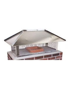 Ventis Stainless Steel Multi-Flue Chimney Cap With Hip And Ridge Lid And 14-Inch Mesh Height - MFHNRSS14